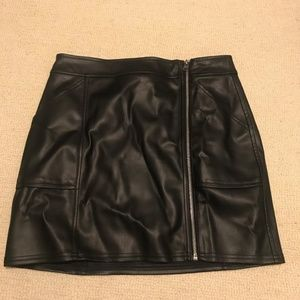 Express Faux Leather Skirt with Accent Zipper